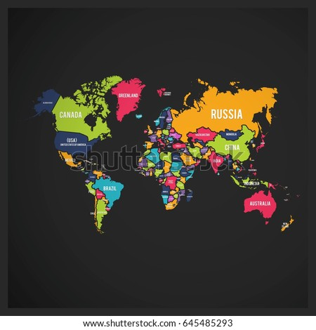 World map different colored continents illustration stock vector 239084344 shutterstock - World of color wallpaper ...