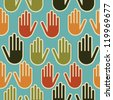 Multi-Ethnic human hands seamless pattern background. Vector file layered for easy manipulation and custom coloring. - stock photo