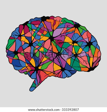 Multicolor abstract human brain