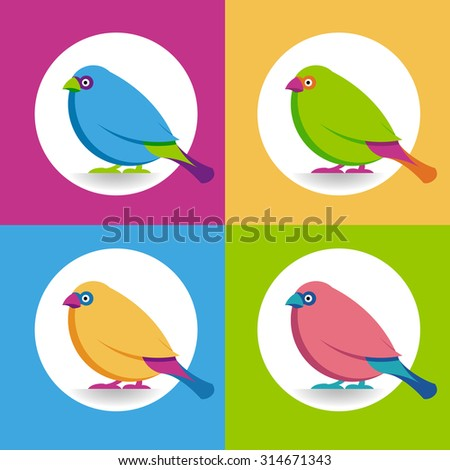 multicolor birds set - multicolor birds on bright colored background