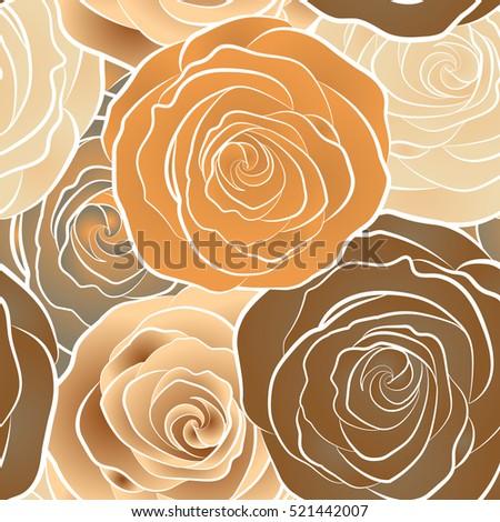 Rose Flower Seamless Pattern Gold Roses Stock Vector