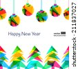 Multicolor vector seamless background. Christmas, New Year greeting card. Abstract illustration with fir trees and snowflakes. Design for winter holiday, flyer, invitation, banner. - stock vector
