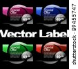 multicolored glossy label in red, blue and green colors - stock vector