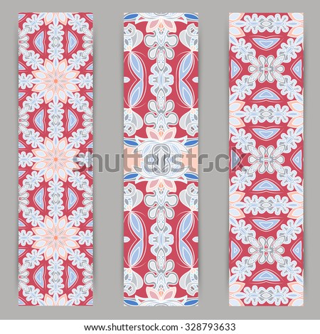 multicolored set of vertical banner templates with hand drawn tribal ornament, mandala. Vector illustration