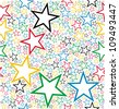 Multicolored stars seamless pattern background. Vector file layered for easy manipulation and customisation. - stock vector