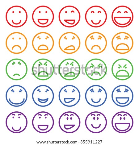 Multicolored vector set of different funny faces