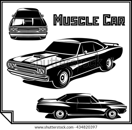 Set Muscle Car Illustrations Isolated On Stock Vector
