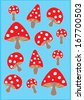 mushroom poster template vector/illustration / background/ greeting card - stock vector