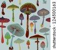 Mushrooms seamless pattern. Vector. - stock vector