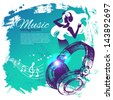 Music background with hand drawn illustration and dance girl silhouette. Splash blob retro design - stock photo
