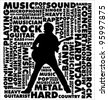 music background with music word collage - stock vector