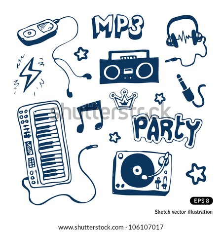 Music elements set. Hand drawn sketch illustration isolated on white background