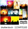 Music event illustration set - stock vector