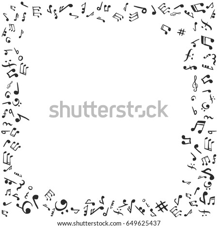 music notes frame flat vector stock illustration black and white - Music Note Picture Frame