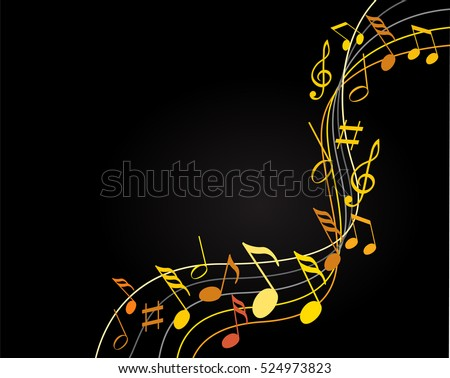 music notes on color background stock vector 272649092