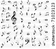 Music notes seamless - stock photo