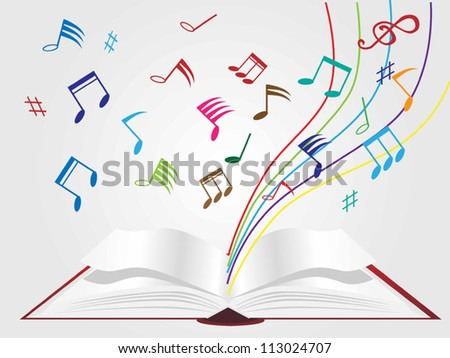 music on book background