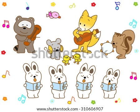 Music presentation of the cute animal