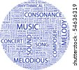 MUSIC. Word collage on white background. Vector illustration. - stock vector