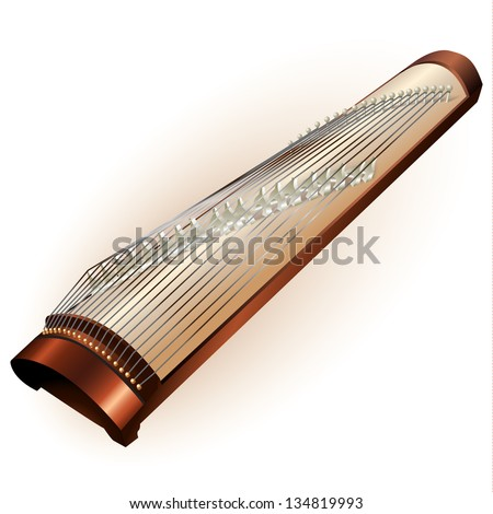 Musical background series. Traditional Japanese koto, isolated on white background. Vector illustration