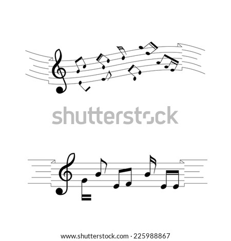 musical chords, wave ribbon style. A vector illustration.