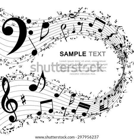 Musical Design Elements From Music Staff With Treble Clef And Notes in Black and White Colors. Elegant Creative Design With Shadows and Isolated on White. Vector Illustration.
