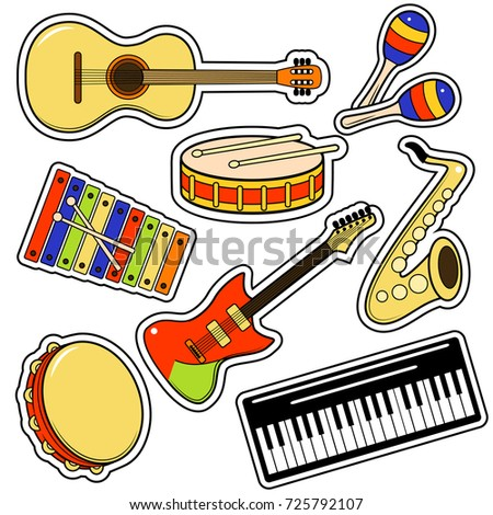 Musical Instrument And Equipment Sticker Set On A White Background Include Of Maraca Tambourine