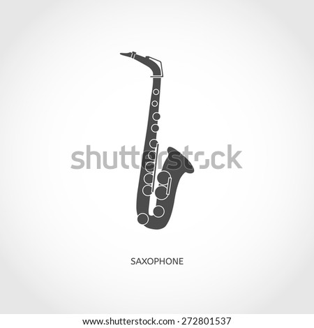 Musical instrument saxophone flat vector grey icon