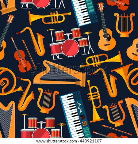 Musical instruments seamless pattern with saxophones, trumpets and horns, drums, guitars and violins, harps, synthesizers and lyres on dark blue background. Music entertainment theme design