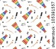 Musical (notes and xylophone) seamless pattern, vector - stock vector