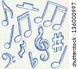 Musical notes doodles on school squared paper - stock vector