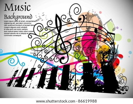 Musical Theme Disco Background With Circles And Splash Editable Illustration