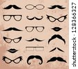 Mustaches And Eyeglasses Various Addition Set - Isolated On Background - Vector Illustration, Graphic Design Editable For Your Design. Logo Symbols - stock photo