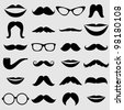 Mustaches and other Accessories Vector Set - stock vector