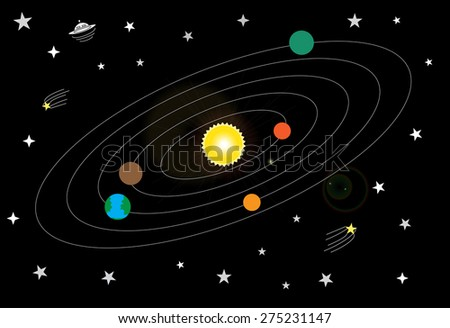 Planets Solar System Vector Illustration Stock Vector ...