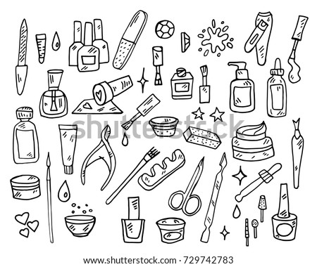 Modern Icons Set Cosmetics Beauty Spa Stock Vector