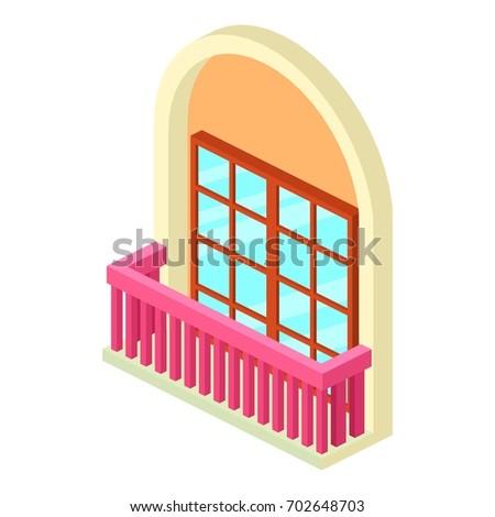 Retro window balcony icon outline illustration stock for Balcony vector