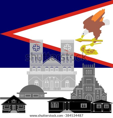 National flag of American Samoa and architectural attractions. The illustration on a white background.