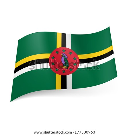 National flag of Dominica: cross of tricolor bands of yellow, white and black with red circle and parrot with stars in its centre