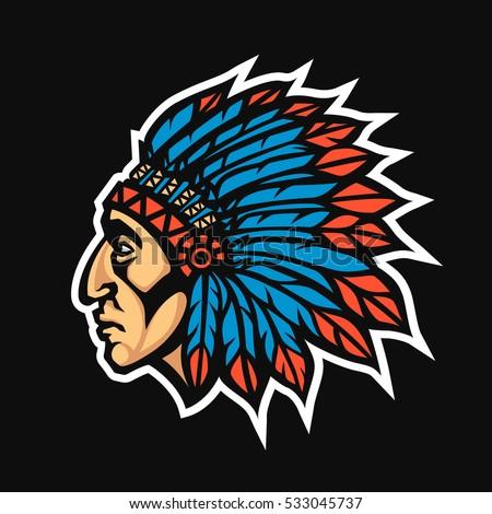 native american head stock vector 94728997 shutterstock Cherokee Indian Chief Logo indian chief logo on tennis shoe