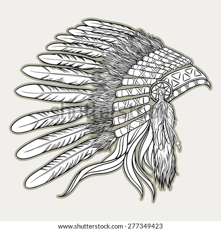 Native American Indian Chief Headdress Vector Illustration In Black And White Style