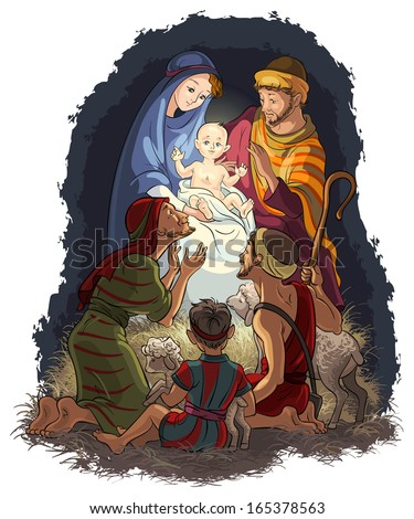 Nativity Scene with Jesus, Mary, Joseph and shepherds. Also available raster and outlined (coloring book) version