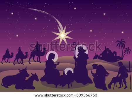 Nativity Scene with the Magi Shepherd and Angel