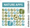 nature apps buttons & icons set, vector - stock vector