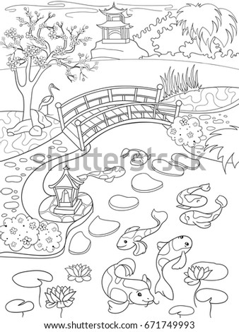 nature of japan coloring book for children cartoon japanese garden vector illustration zentangle style - Japanese Coloring Book