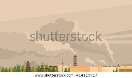 Nature Pollution Plant Pipe Air Dirty Smoke Waste Vector Illustration