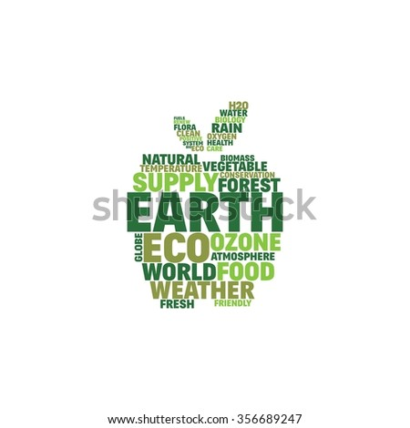 Nature word cloud concept, apple shape word.