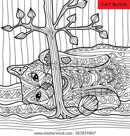 Hand drawing adult coloring book fireplace stock vector Coloring book for adults naughty coloring edition