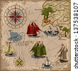 Nautical vector illustration with wind-rose, ships, fishing boat, whale, sword fish, treasure Card Retro art Old map - stock photo