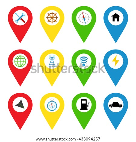 Navigation icons in bright flat style. Direction, maps, world, traffic, car, repair, home, wi-fi, powerhouse and more. GPS icons set, vector illustration.